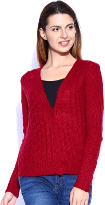 Mast & Harbour Self Design V-neck Casual Women,s Red Sweater