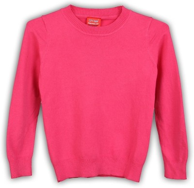 Lilliput Solid Round Neck Girl's Pink Sweater