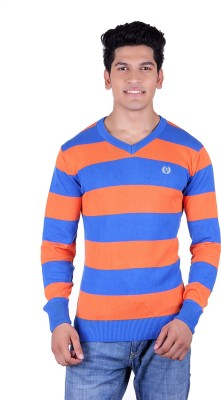Ogarti Solid, Striped V-neck Casual Men,s Blue, Orange Sweater