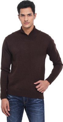 Northern Lights Solid V-neck Casual Men's Brown Sweater