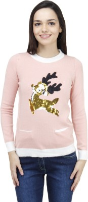Camey Embellished Round Neck Casual Women's Pink Sweater