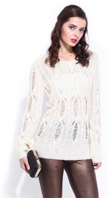 D Muse by DressBerry Woven Round Neck Casual Women's White Sweater