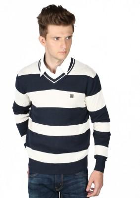 Again Striped V-neck Casual Men's Blue Sweater