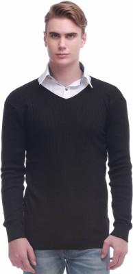 Jogur Self Design V-neck Men's Black Sweater