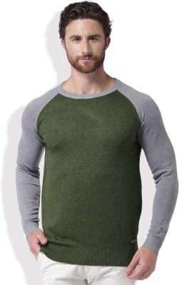 Mast & Harbour Self Design Round Neck Casual Men Green, Grey Sweater