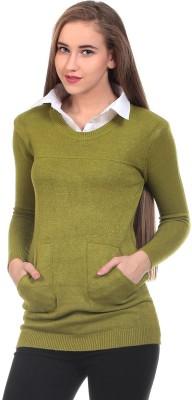 Saiints Solid Crew Neck Casual Women's Green Sweater