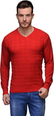 Tailor Craft Solid V-neck Casual Men's Red Sweater