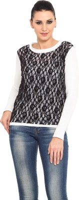 Northern Lights Solid Round Neck Casual Women's Black Sweater