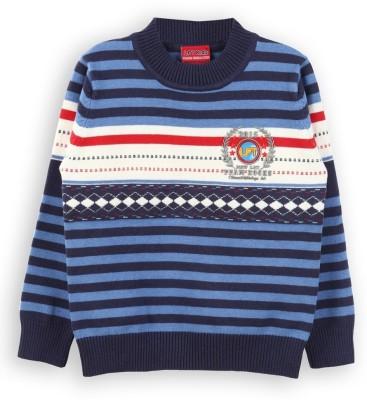 Lilliput Striped Round Neck Casual Boy's Blue Sweater