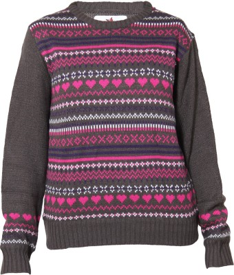 Prakum Self Design Round Neck Casual Girl's Brown Sweater