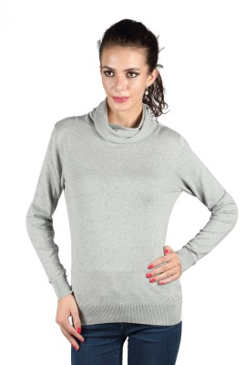 Again Solid Turtle Neck Casual Women's Grey Sweater
