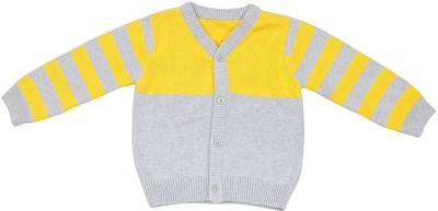 Classy Kids Striped V-neck Boy,s Yellow Sweater