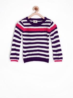 Yellow Kite Striped Round Neck Casual Girl's Purple Sweater
