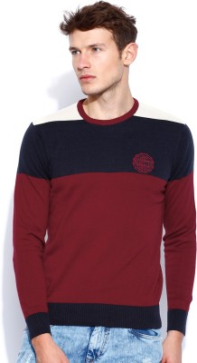 Roadster Self Design Round Neck Casual Men's Maroon Sweater