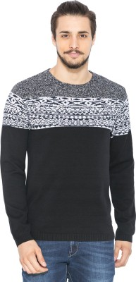Status Quo Printed Round Neck Casual Men's Black Sweater