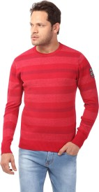 Club Fox Striped Round Neck Casual Men Red Sweater