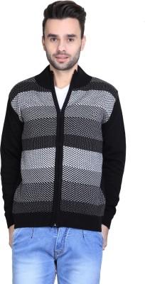 BRAVEZI Self Design Round Neck Casual Men,s Black, White Sweater