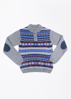 People Printed Girl's Grey Sweater