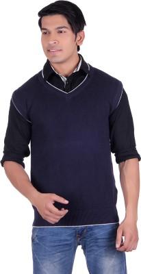 Ogarti Solid V-neck Casual, Party, Festive Men,s Dark Blue Sweater