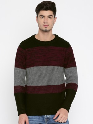 Roadster Striped Round Neck Casual Men Black, Pink Sweater