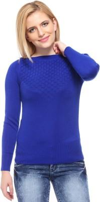 Fasnoya Self Design Round Neck Casual Women's Blue Sweater
