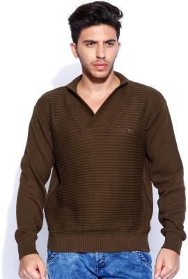 Roadster Solid V-neck Casual Men's Brown Sweater