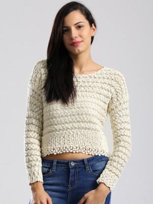 Dressberry Self Design Round Neck Casual Women Beige, Gold Sweater at flipkart