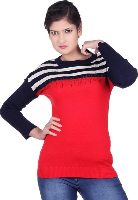 Spink Self Design Round Neck Casual Women's Red Sweater