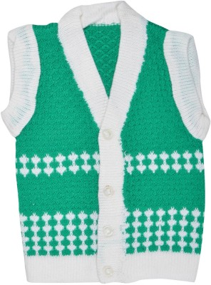 Akhil & Aarna Woven V-neck Baby Boys Green Sweater
