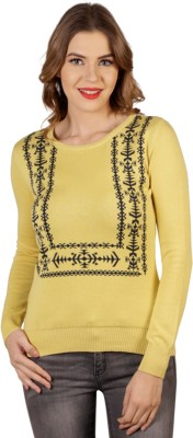Aussehen Printed Round Neck Casual Women's Yellow, Blue Sweater