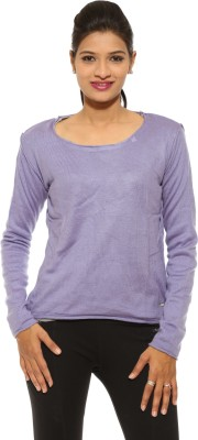 Pepe Solid Round Neck Casual Women's Purple Sweater