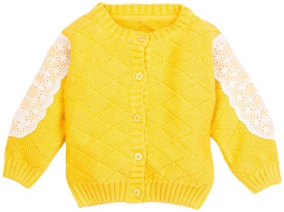 Mom & Me Solid Round Neck Casual Girl's Yellow Sweater