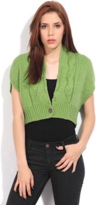 Elle V-neck Casual Women's Green Sweater
