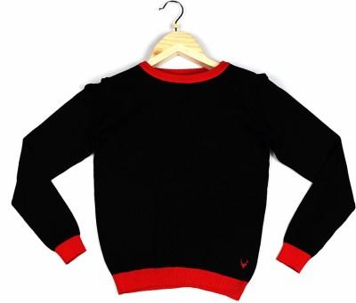 Allen Solly Self Design Round Neck Girl's Black Sweater
