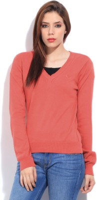 Puma Solid V-neck Casual Women's Red Sweater
