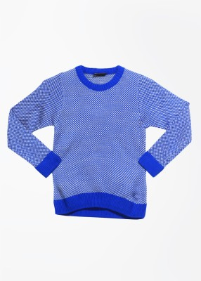 Cherokee Kids Self Design Round Neck Casual Boy's Blue Sweater