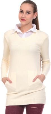 Saiints Solid Crew Neck Casual Women's Beige Sweater