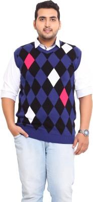 John Pride Printed V-neck Men's Blue Sweater