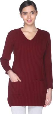 CLUB YORK Self Design V-neck Casual Women Maroon Sweater at flipkart