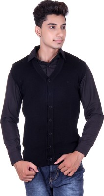 Pierre Carlo Solid V-neck Casual Men's Black Sweater