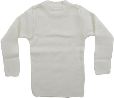 AKHIL & AARNA Solid Round Neck Baby Boy's White Sweater