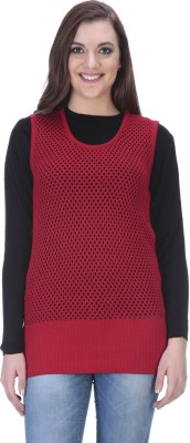 90 WEST Solid Round Neck Casual Women's Red Sweater