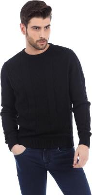 Basics Solid Round Neck Casual Men's Black Sweater