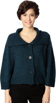 People Woven Round Neck Casual Women's Blue Sweater