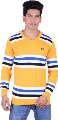 Ogarti Solid, Striped V-neck Casual Men's Gold, White Sweater