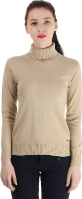 Pepe Jeans Solid Turtle Neck Casual Women,s Beige Sweater