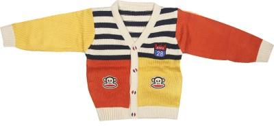 Camey Self Design V-neck Casual Baby Boy's Multicolor Sweater