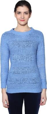 Prakum Solid Round Neck Casual Women's Blue Sweater