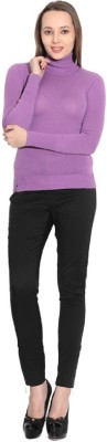 Gasser Solid Turtle Neck Casual Women,s Purple Sweater