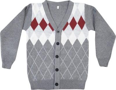 Addyvero Geometric Print V-neck Casual Girl's Multicolor Sweater